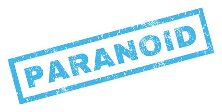 paranoid: Paranoid text rubber seal stamp watermark. Caption inside rectangular shape with grunge design and unclean texture. Inclined glyph blue ink sticker on a white background.