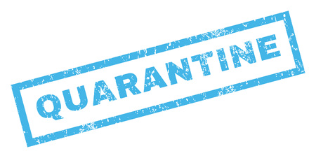 quarantine: Quarantine text rubber seal stamp watermark. Caption inside rectangular shape with grunge design and dust texture. Inclined glyph blue ink sign on a white background.