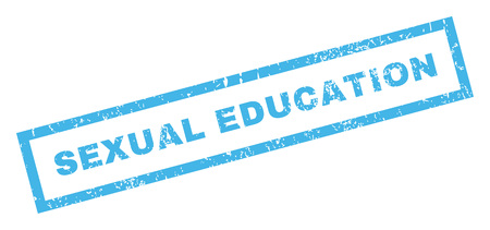 educacion sexual: Educación Sexual texto marca de agua sello de junta de goma. En etiqueta bandera rectangular con diseño de grunge y textura sucia. glifo inclinada Azul etiqueta de tinta sobre un fondo blanco.