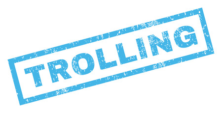 trolling: Trolling text rubber seal stamp watermark. Caption inside rectangular banner with grunge design and scratched texture. Inclined glyph blue ink emblem on a white background. Stock Photo