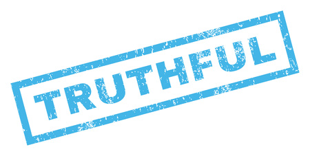 truthful: Truthful text rubber seal stamp watermark. Caption inside rectangular shape with grunge design and unclean texture. Inclined glyph blue ink emblem on a white background.