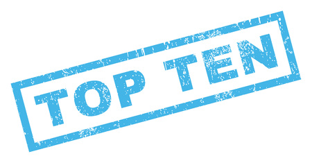 top ten: Top Ten text rubber seal stamp watermark. Tag inside rectangular banner with grunge design and unclean texture. Inclined glyph blue ink emblem on a white background.