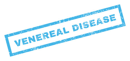 venereal: Venereal Disease text rubber seal stamp watermark. Tag inside rectangular banner with grunge design and unclean texture. Inclined glyph blue ink emblem on a white background.