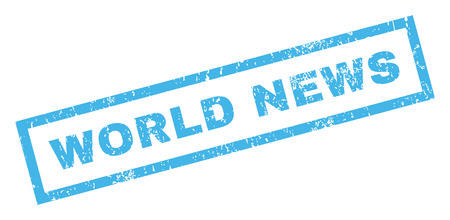 world news: World News text rubber seal stamp watermark. Caption inside rectangular shape with grunge design and dirty texture. Inclined glyph blue ink sign on a white background.