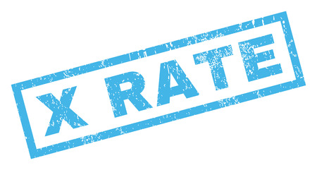 x rated: X Rate text rubber seal stamp watermark. Caption inside rectangular shape with grunge design and dust texture. Inclined glyph blue ink sticker on a white background. Stock Photo