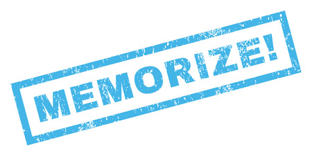 memorize: Memorize! text rubber seal stamp watermark. Caption inside rectangular banner with grunge design and dust texture. Inclined glyph blue ink sign on a white background.