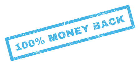 absolute: 100 Percent Money Back text rubber seal stamp watermark. Caption inside rectangular banner with grunge design and unclean texture. Inclined glyph blue ink sticker on a white background.