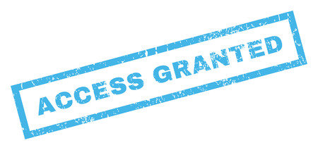 granted: Access Granted text rubber seal stamp watermark. Caption inside rectangular shape with grunge design and scratched texture. Inclined glyph blue ink sign on a white background. Stock Photo