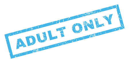 adult only: Adult Only text rubber seal stamp watermark. Caption inside rectangular banner with grunge design and dust texture. Inclined glyph blue ink sticker on a white background.