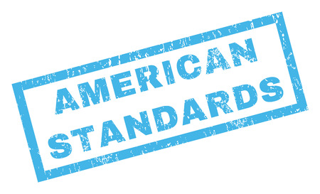 standardization: American Standards text rubber seal stamp watermark. Tag inside rectangular shape with grunge design and dust texture. Inclined glyph blue ink sticker on a white background.