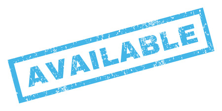 achievable: Available text rubber seal stamp watermark. Caption inside rectangular shape with grunge design and unclean texture. Inclined glyph blue ink sticker on a white background. Stock Photo