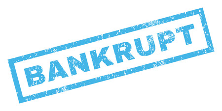 inability: Bankrupt text rubber seal stamp watermark. Tag inside rectangular banner with grunge design and scratched texture. Inclined glyph blue ink sticker on a white background. Stock Photo