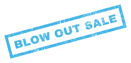 Blow Out Sale text rubber seal stamp watermark. Tag inside rectangular shape with grunge design and scratched texture. Inclined glyph blue ink emblem on a white background. Stock Photo