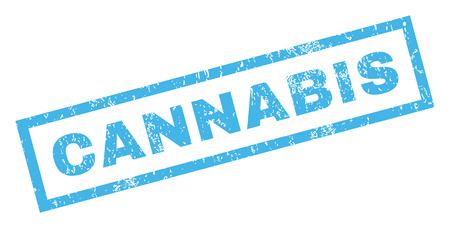 Cannabis text rubber seal stamp watermark. Tag inside rectangular banner with grunge design and unclean texture. Inclined glyph blue ink emblem on a white background.
