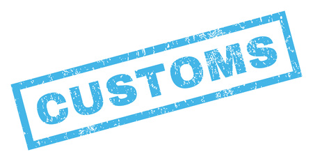 customs: Customs text rubber seal stamp watermark. Tag inside rectangular banner with grunge design and dust texture. Inclined glyph blue ink sign on a white background.