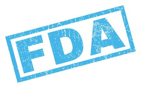 FDA テキスト ゴム シール スタンプの透かし。グランジ デザインと汚れた質感と長方形バナー内キャプションします。白い背景の上に傾斜グリフ青イ 写真素材