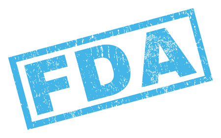 FDA tekst rubberen afdichting stempel watermerk. Bijschrift in rechthoekige banner met grunge ontwerp en onreine textuur. Geneigde glyph blauwe inktsticker op een witte achtergrond.