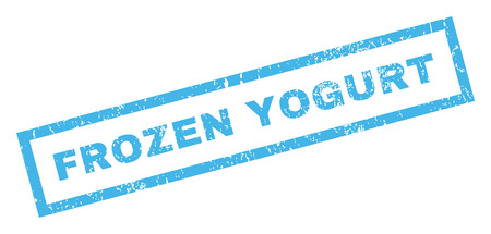 frozen yogurt: Frozen Yogurt text rubber seal stamp watermark. Caption inside rectangular shape with grunge design and dirty texture. Inclined glyph blue ink sign on a white background. Stock Photo