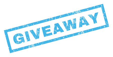 giveaway: Giveaway text rubber seal stamp watermark. Tag inside rectangular banner with grunge design and dust texture. Inclined glyph blue ink sign on a white background. Stock Photo