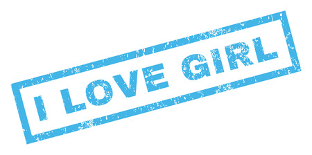 dirty girl: I Love Girl text rubber seal stamp watermark. Tag inside rectangular banner with grunge design and dirty texture. Inclined glyph blue ink emblem on a white background. Stock Photo