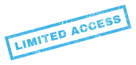 limited access: Limited Access text rubber seal stamp watermark. Tag inside rectangular banner with grunge design and dust texture. Inclined glyph blue ink sticker on a white background.
