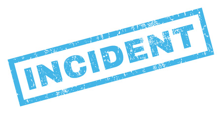 incident: Incident text rubber seal stamp watermark. Tag inside rectangular banner with grunge design and scratched texture. Inclined glyph blue ink sign on a white background. Stock Photo
