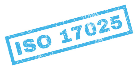 ISO 17025 text rubber seal stamp watermark. Tag inside rectangular shape with grunge design and dust texture. Inclined glyph blue ink sign on a white background.