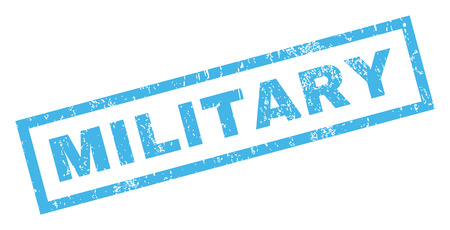 military draft: Military text rubber seal stamp watermark. Tag inside rectangular shape with grunge design and dust texture. Inclined glyph blue ink sticker on a white background.