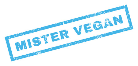 mister: Mister Vegan text rubber seal stamp watermark. Tag inside rectangular shape with grunge design and dirty texture. Inclined glyph blue ink sign on a white background.