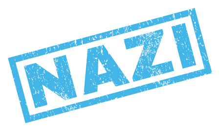 Nazi text rubber seal stamp watermark. Caption inside rectangular banner with grunge design and dust texture. Inclined glyph blue ink emblem on a white background.