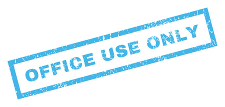 use by label: Office Use Only text rubber seal stamp watermark. Tag inside rectangular banner with grunge design and dust texture. Inclined glyph blue ink sticker on a white background. Stock Photo