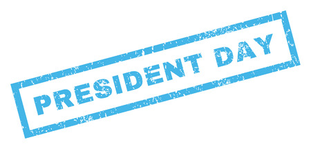 president day: President Day text rubber seal stamp watermark. Caption inside rectangular shape with grunge design and scratched texture. Inclined glyph blue ink sticker on a white background. Stock Photo