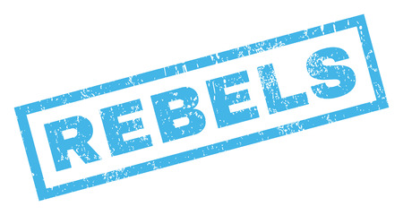 Rebels text rubber seal stamp watermark. Caption inside rectangular shape with grunge design and dust texture. Inclined glyph blue ink sign on a white background.