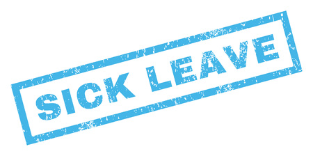 Sick Leave text rubber seal stamp watermark. Tag inside rectangular shape with grunge design and unclean texture. Inclined glyph blue ink emblem on a white background. Stock Photo