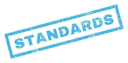 standardization: Standards text rubber seal stamp watermark. Caption inside rectangular shape with grunge design and dirty texture. Inclined glyph blue ink emblem on a white background.