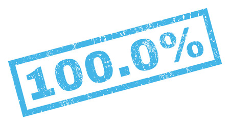 absolute: 100.0 Percent text rubber seal stamp watermark. Tag inside rectangular shape with grunge design and dust texture. Inclined glyph blue ink sign on a white background.