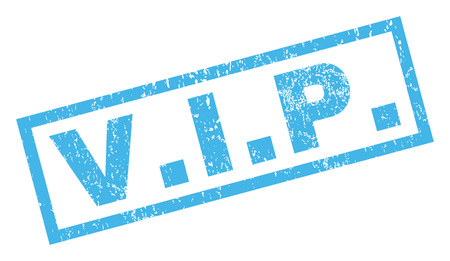 V.I.P. text rubber seal stamp watermark. Tag inside rectangular banner with grunge design and unclean texture. Inclined glyph blue ink emblem on a white background.