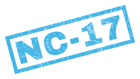 inappropriate: Nc-17 text rubber seal stamp watermark. Caption inside rectangular banner with grunge design and dirty texture. Inclined glyph blue ink sign on a white background.