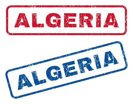 Algeria text rubber seal stamp watermarks. Vector style is blue and red ink tag inside rounded rectangular banner. Grunge design and scratched texture. Blue and red stickers.