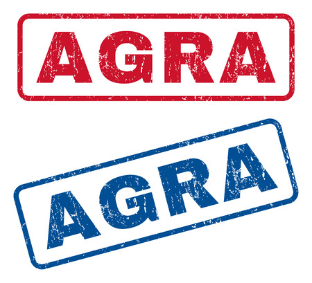 agra: Agra text rubber seal stamp watermarks. Vector style is blue and red ink caption inside rounded rectangular shape. Grunge design and scratched texture. Blue and red signs.