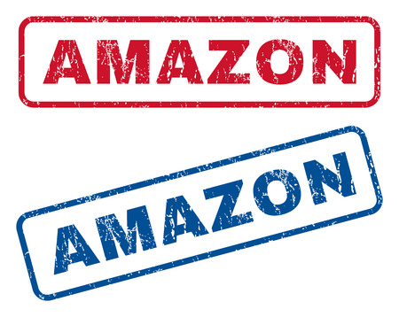 amazon: Amazon text rubber seal stamp watermarks. Vector style is blue and red ink caption inside rounded rectangular shape. Grunge design and scratched texture. Blue and red emblems. Illustration