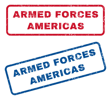 americas: Armed Forces Americas text rubber seal stamp watermarks. Vector style is blue and red ink tag inside rounded rectangular banner. Grunge design and dust texture. Blue and red stickers.