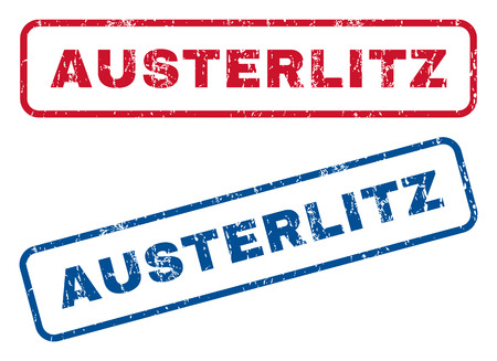 austerlitz: Austerlitz text rubber seal stamp watermarks. Vector style is blue and red ink tag inside rounded rectangular banner. Grunge design and dust texture. Blue and red signs.