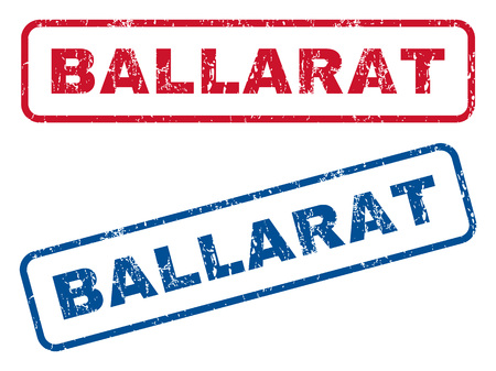 ballarat: Ballarat text rubber seal stamp watermarks. Vector style is blue and red ink tag inside rounded rectangular shape. Grunge design and dust texture. Blue and red emblems.