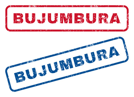 Bujumbura text rubber seal stamp watermarks. Vector style is blue and red ink caption inside rounded rectangular banner. Grunge design and dust texture. Blue and red emblems. Illustration