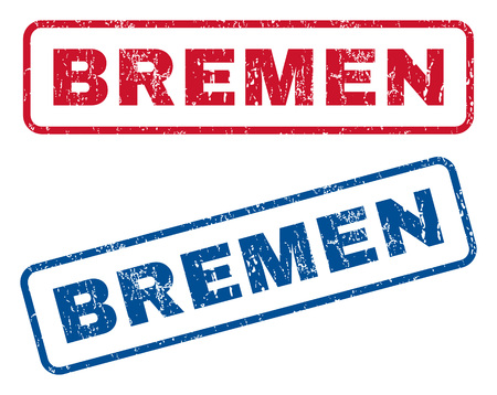 bremen: Bremen text rubber seal stamp watermarks. Vector style is blue and red ink caption inside rounded rectangular banner. Grunge design and unclean texture. Blue and red signs.