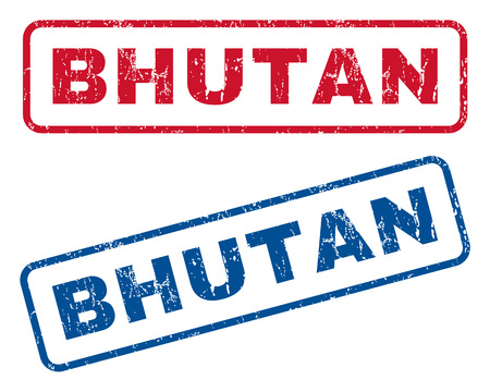bhutan: Bhutan text rubber seal stamp watermarks. Vector style is blue and red ink caption inside rounded rectangular shape. Grunge design and dirty texture. Blue and red signs. Illustration