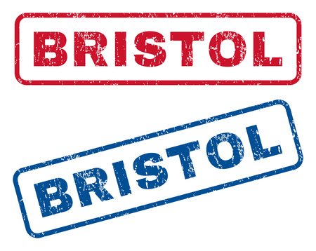 bristol: Bristol text rubber seal stamp watermarks. Vector style is blue and red ink caption inside rounded rectangular shape. Grunge design and scratched texture. Blue and red signs. Illustration