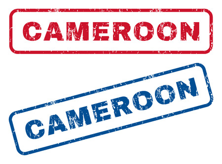 cameroonian: Cameroon text rubber seal stamp watermarks. Vector style is blue and red ink tag inside rounded rectangular shape. Grunge design and dirty texture. Blue and red emblems. Illustration