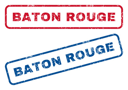 baton rouge: Baton Rouge text rubber seal stamp watermarks. Vector style is blue and red ink caption inside rounded rectangular banner. Grunge design and scratched texture. Blue and red signs. Illustration